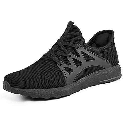 ZOCAVIA Herren Damen Sneaker Running Laufschuhe Sportschuhe rutschfeste Sneaker, Schwarz1, 46 EU