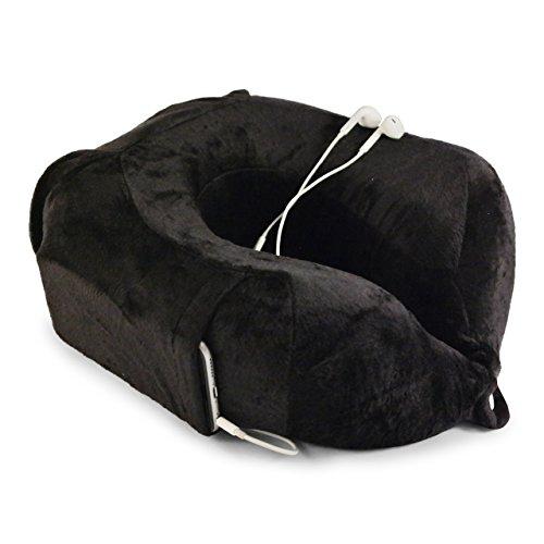 Nekkussen van evo-cative - soepel geheugenschuim - nekkussentje met geïntegreerde mobiele telefoon zak en opbergtas (zwart)
