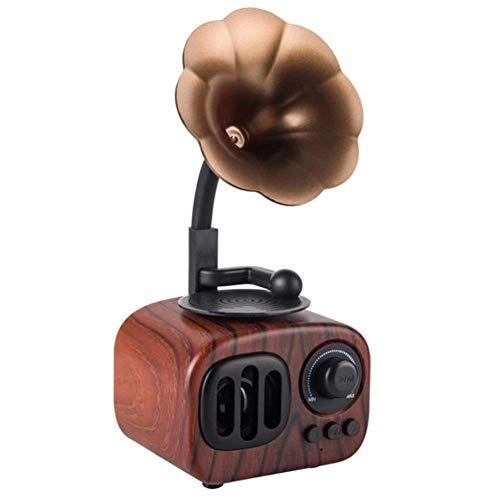 LHFLU-SP Altavoz Bluetooth Retro Estéreo inalámbrico Subwoofer Caja de música Altavoces de Madera con Radio FM de micrófono TF para teléfono,Dark Wood