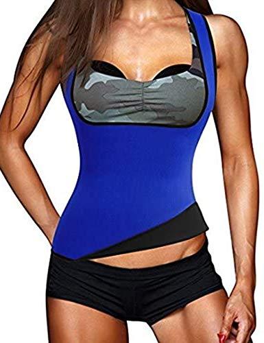 FeelinGirl Chaleco Adelgazante de Neopreno para Mujer Bajo el Pecho para Quemar Grasa Azul M/Talla 36-38