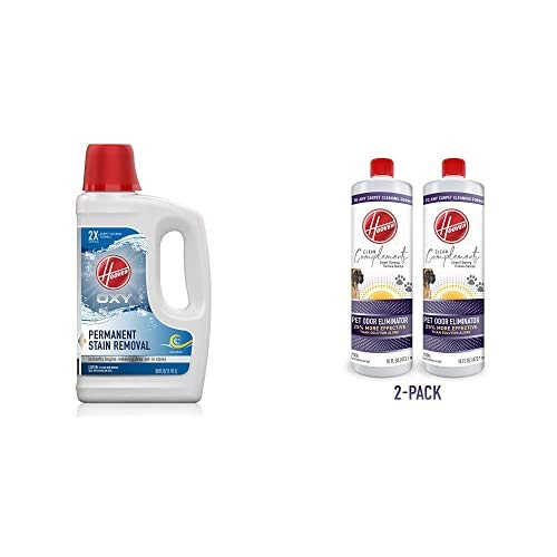 Hoover Oxy Deep Cleaning Carpet Shampoo, Concentrated Machine Cleaner Solution, 50 oz, White & Odor Eliminator Carpet Cleaning Booster for Machines, 16 oz, Pack of 2, White
