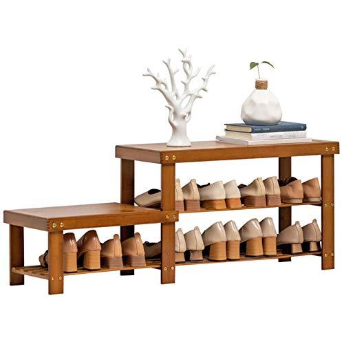 HBING Zapatero De Madera De Bambú Natural, Organizador De Zapatos De Bambú De 2 Niveles, Estante De Almacenamiento, para Entrada, Pasillo, Sala De Estar, Habitación, Dormitorio,B2