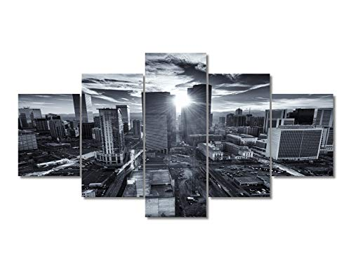 Colorado Capital City Skyline, Denver City at Sunset Poster Wall Art Decor Framed Print 5 Pcs Biggest Aerial Drone Photo City Panoramic Gift for Guy & Girl Bedroom Decoration Ready to Hang(60'Wx32'H)