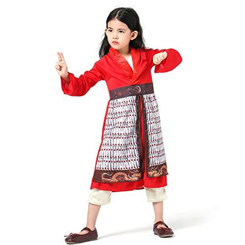 GAOAO Niño niña película de acción en Vivo Hua Mulan Modelado de Personajes Juego de Roles, Disfraz de Halloween disfrazarse(Size:M)