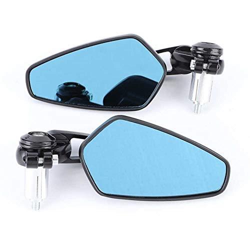 reflector de luz de espejo de motocicleta 2pcs 7-8in manillar Fin espejos retrovisores anti-Resplandores de 180 grados ajustable universal for el accesorio de la motocicleta (Color : Black)