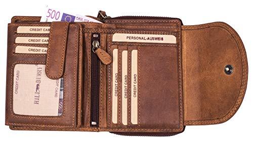 Hill Burry hochwertige Leder Geldbörse RFID | Große XXL Brieftasche - Kompakt mit viel Platz | Echt-Leder Portemonnaie - Kreditkartenetui - Portmonee (Braun)