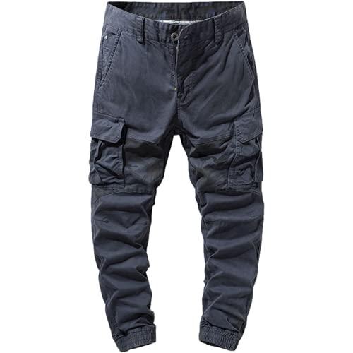 Huntrly Pantalones Cargo para Hombre Pantalones Casuales Multibolsillos con Costuras de Camuflaje Europeo y Americano Pantalones de Moda de otoño Pantalones 32