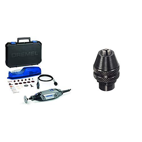 Dremel Multifunktionswerkzeug 3000-1/25 EZ (130 Watt, 25tgl. Zubehör Set, 1 Vorsatz, Werkzeugkoffer) + Dremel 2615448632 Bohrfutter