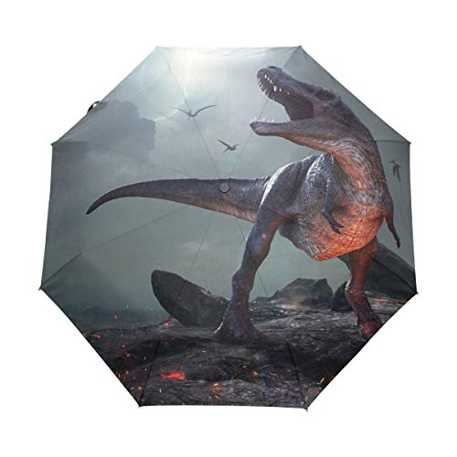 Chic Houses Dinosaurio extremo monstruo automático abierto cierre plegable de viaje portátil paraguas misterioso de personalidad cerrada con protección UV resistente al viento impermeable 2030110