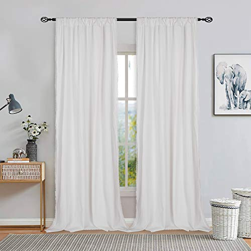 ASPMIZ White Solid Color Window Curtains, Cotton Blend Rod Pocket Curtain Panel, FarmhouseWindow Drapes for Bedroom Living Room Decor, Set of 2 Panels, 52 x 84 Inch Length