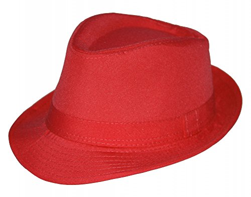 Sommer Fedora Hut Panama Strand Gangster Party Farbe rot