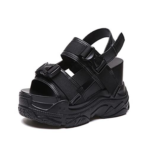 DZQQ Recién Llegado 2020, Sandalias de Plataforma de Verano para Mujer, cuñas de 11,5 CM, Zapatos Casuales de Fondo Grueso, Sandalias cómodas con Hebilla Blanca, Zapatillas