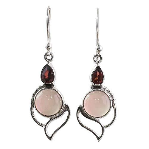 Lx10tqy Vintage Chic Women Hollow Faux Rose Quartz/Ruby Drop Dangle Hook Earrings Jewelry Pink