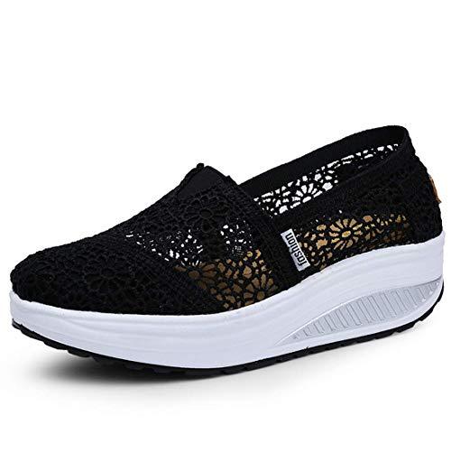 Zapatos Deporte Mujer Zapatillas Deportivas Moda Sandalias de Verano Mocasines de Plataforma Casuales Zapatillas de Lona para Mujer Cuña X-Negro EU 37