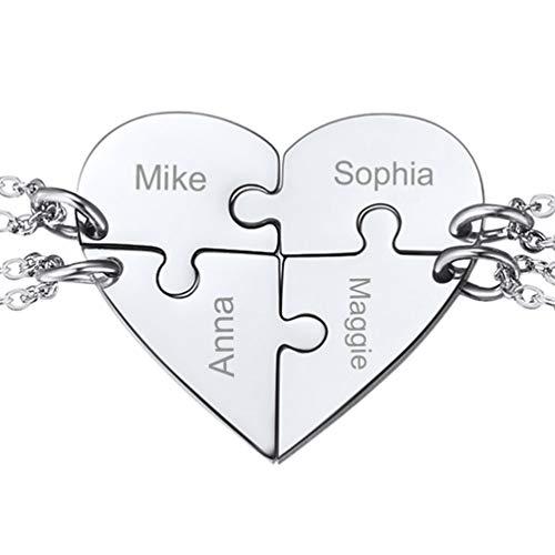 PROSTEEL Damen Collier 4 Stücke Puzzle Anhänger personalisiert Love Herz Familien Freundschaft Schmuck mit 51cm/1,5mm Edelstahl Rolokette Geschenk für Frauen Mädchen
