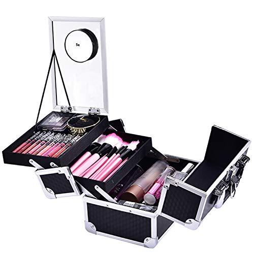 Joligrace Makeup Box Cosmetic Train Case Jewelry Organizer Box - 2 Trays Key Lock Portable Carrying with Mirror Travel Storage Modern Style Black