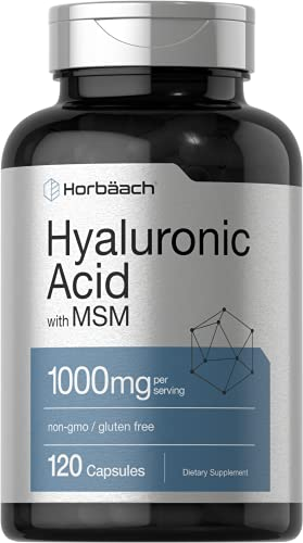 Hyaluronic Acid with MSM | 1000 mg | 120 Capsules | Non-GMO and Gluten Free Supplement | Bioavailable Formula | by Horbaach
