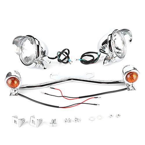Yctze Luz de motocicleta, luz de señal de giro de conducción de motocicleta, lámpara antiniebla, soporte DC12V, accesorio de motocicleta, apto para Shadow VT 750 1100 VTX 1300 1800