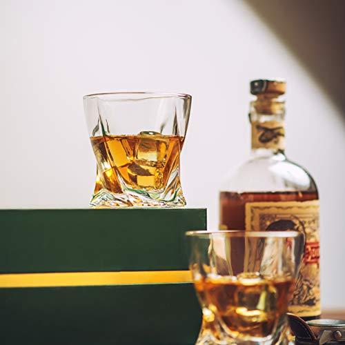 Amerigo Premium Whisky Gläser 4-teiliges Set Geschenkbox - Twist Whisky Gläser für Scotch, Bourbon & altmodische Cocktails (340ml) - Whisky-Geschenk für Männer - Vatertagsgeschenk - Bar-Set - 6