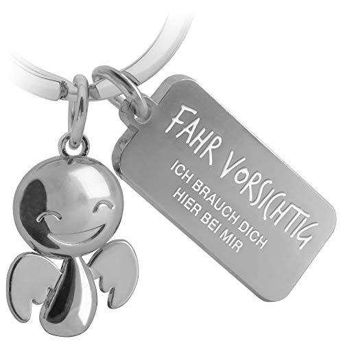 FABACH Schutzengel Schlüsselanhänger Happy mit Gravur - Niedlicher Auto Schlüsselanhänger mit Botschaft aus Metall für Autofahrer - Geschenk Glücksbringer Auto Führerschein - Fahr vorsichtig