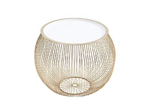 DuNord Design Beistelltisch Gold weiß 41cm Metall rund Korbtisch