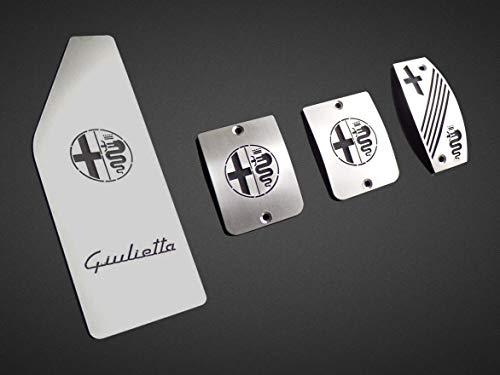 Pedali Con Poggiapiede In Acciaio per Alfa_Romeo GIULIETTA - 4 Pezzi Pedana Pedaliera Poggapiedi Pedaliere Sportiva Gas Copripedale Freno Frizione Tuning