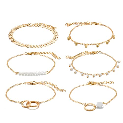DOOLY Pulseras de Borla de Oro Bohemio para Las Mujeres Boho Jewelry Hojas geométricas Perlas Capas de Mano Cadena de Mano Charm Pulsera Set