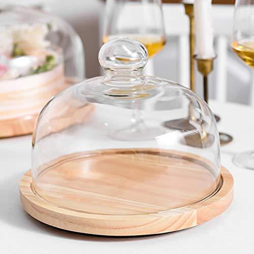 Rainai Plato para tartas con cúpula de vidrio y bandeja de madera para tartas con cubierta – Soporte de cristal para tartas de pastelería, cubierta de tapa alta transparente