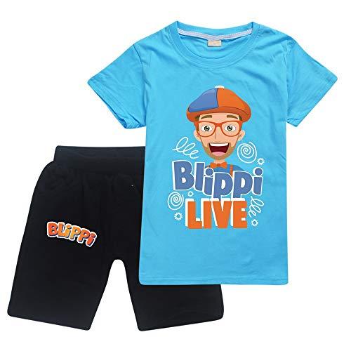 Blippi - Juego de camiseta y pantalones cortos unisex Blippi para niños y niñas, azul claro, 140