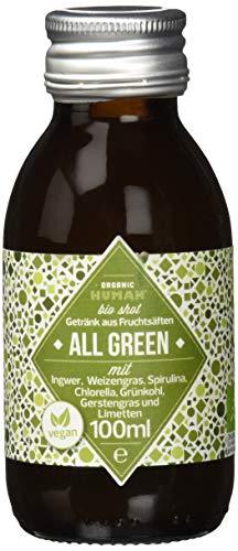 Organic Human Bio Shot - ALL GREEN mit Ingwer, Weizengras, Spirulina, Chlorella, Grünkohl, Gerstengras und Limetten - Bio & Vegan, 4x 100ml