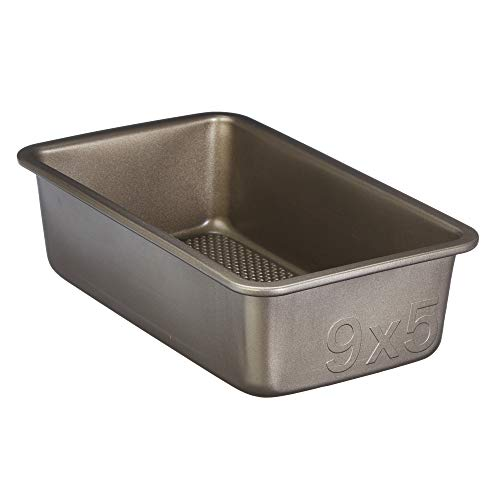 Goodcook Aluminized Steel, Diamond-Infused Non-Stick Coated Textured Bakeware, Loaf Pan, champagne pewter