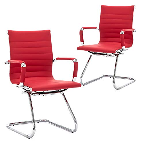DM Furniture Reception Chairs Guest Chair Leather Conference Chairs Back Support Heavy Duty Office Chair Set of 2 Deep Red