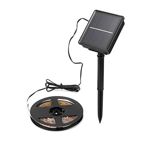 Tira de luz solar, cadena de luz LED flexible impermeable al aire libre de 9.8 pies / 3 m, 90 luces LED de estado de ánimo, cuerda de iluminación para jardín, patio, fiesta