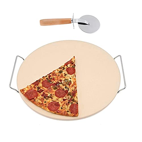 Piedra Para Pizza, Con Cortador De Pizza Herramienta De Servicio De Cordierita, Juego De Herramientas Para Pizza Para Pizza, Pastel, Pan, Pasteles, Galletas En El Horno, Barbacoa Y Parrilla