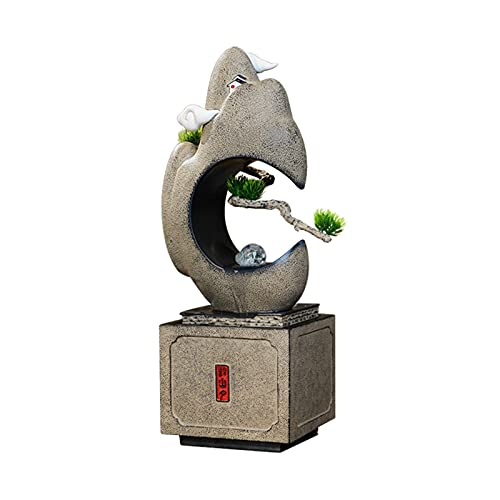 Característica de agua de escritorio Fuente de agua interior con spinning orbe feng shui zen tabletop cascada y fuentes de sonido de agua calmantes - para la decoración de la oficina en el hogar Fuent