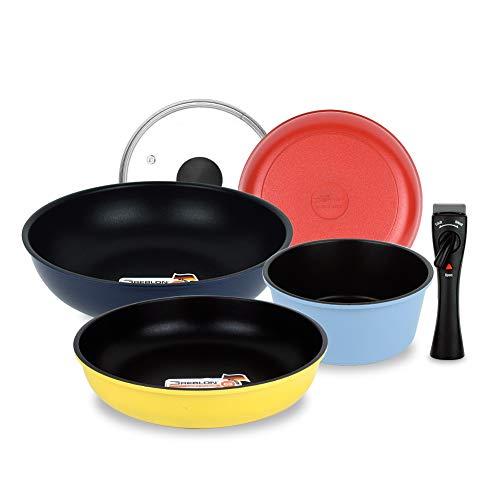 Nonstick Detachable Induction Cookware Set, Multi Pots & Pans with Removable Handle