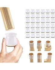 VINNAR 36 stuks beschermkappen voor stoelpoten, siliconen stoelpootdoppen, vloerbeschermers met vilten kussens voor hardhouten vloeren, stoelkappen geschikt voor ronde en vierkante hoeken (wit 30-47 mm)