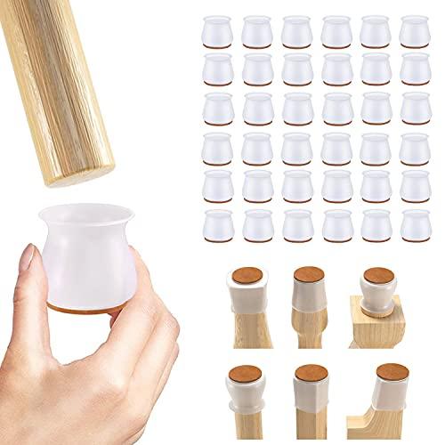 VINNAR Tapas protectoras para patas de sillas, 36 unidades, de silicona, con almohadillas de fieltro para suelos de madera dura, aptas para esquinas redondas y cuadradas (blanco 30-47 mm)