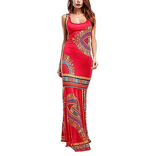 MERICAL Vestido Estilo Chaleco con Estampado étnico, Vestido de cóctel Largo sin Mangas con Estampado Floral Estilo Boho de Las Mujeres Boho