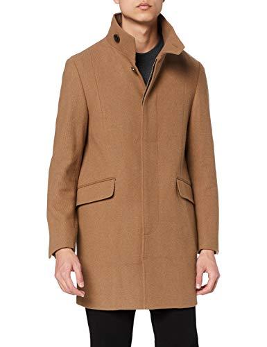 Marca Amazon - find. Wool Mix Funnel Neck Abrigo Hombre, Marrón (Camel), S, Label: S