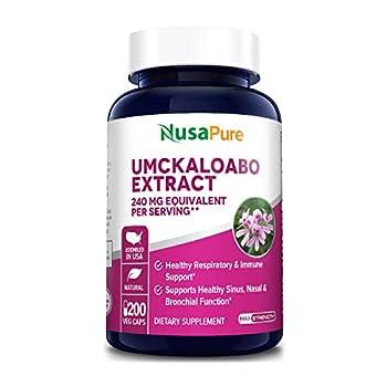 Umckaloabo Extract 240mg 200 Veggie Caps  Vegetarian Non-GMO & Gluten Free  - Healthy Respiratory and Immune Support *