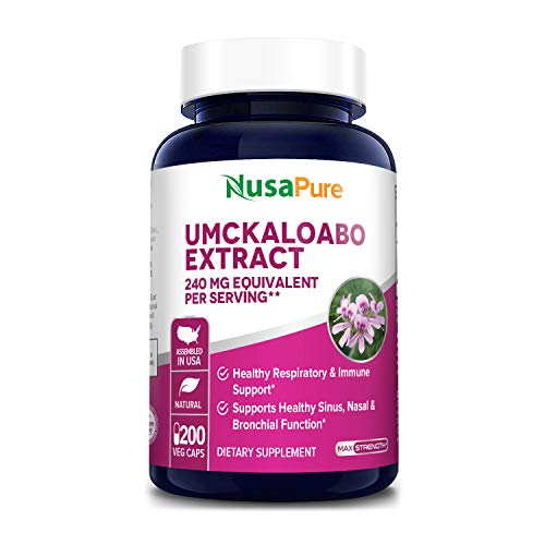 Umckaloabo Extract 240mg 200 Veggie Caps (Non-GMO & Gluten Free) - Supports Healthy Sinus - Nasal & Bronchial Function - Immune System