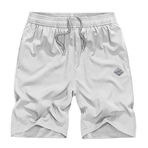 Casual Shorts Men's Big & Tall Inseam Cargo Durable Breathable with Full Elastic Waist Athletic Spandex Short White