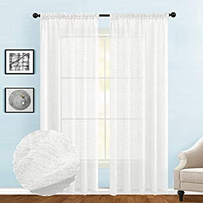 Guken Off White Semi Sheer Curtains for Living Room 84 inches Long Rod Pocket Faux Linen Textured Curtains for Bedroom Light Reducing Window Treatments Set of 2 Panels