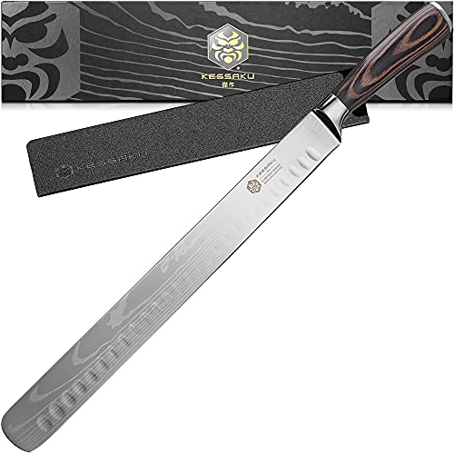 Kessaku 12-Inch Slicing Carving Knife - Samurai Series - Granton Edge - Forged High Carbon 7Cr17MoV Stainless Steel - Pakkawood Handle with Blade Guard
