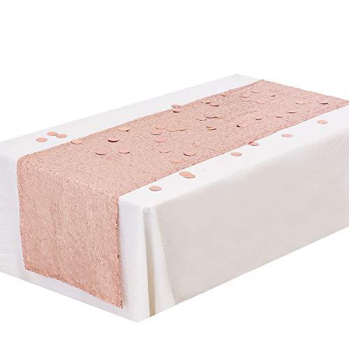 Whaline Pailletten Tischläufer Rosegold 12 X 108 Zoll Glitzer Tischläufer mit 30 g Folie Konfetti für Hochzeit Geburtstag Baby Dusche