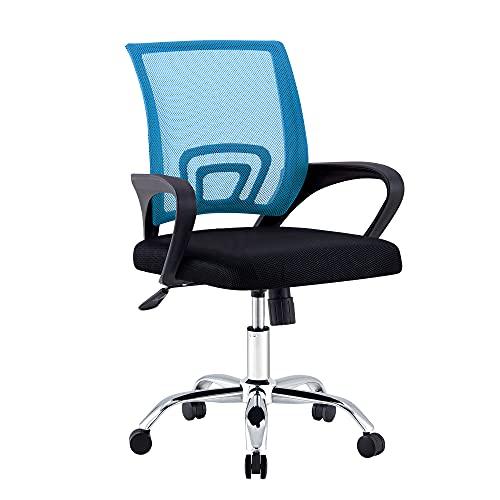 Bürostuhl, Ergonomischer Drehstuhl Schreibtischstuhl mit Armlehne, Kopfstütze und Lordosenstütze, Executive Chair Verstellbarer Mesh-Computerstuhl mit Wippenfunktion, Tragfähigkeit 330IBS (Blau)