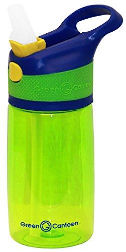 Green Canteen Wasserflasche aus Tritan-Kunststoff, einwandig, mit pinkfarbenem/aquamarinfarbenen Akzenten Kinder, Einzelwand, Tritan-Flasche 12 oz blau/grün