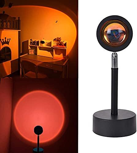 JYDNBGLS Lámpara de proyección de puesta del sol, carga USB, proyector de luz nocturna de 180 grados, luz romántica de arco iris visual para dormitorio, fiesta en el hogar