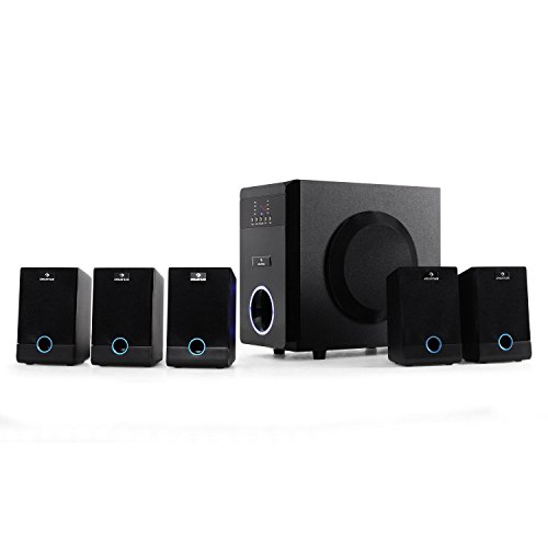 que choisir auna 5.1-J – 5.1 Active Surround, Home Cinema, 95 W RMS, volume réglable individuellement, élégant panneau avant laqué, effets de lumière, caisson de basses avec entrée latérale, noir choix